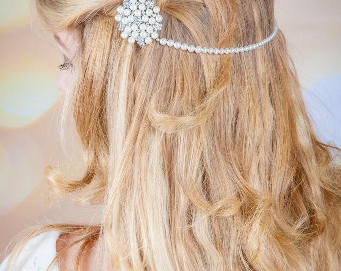 Hair drapes, head chain, bride hairpiece, wedding, Swarovski Pearl, crystal, Art Deco, Downton abbey, made to measure, bride hair jewelry