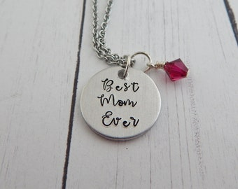 Mother Necklace - Best Mom Ever with Birthstones - Mother's Day Gift - Personalized Custom Hand Stamped Necklace - Gift for Mom