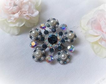 Vintage Blue Crystal brooch