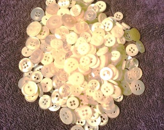 Grab bag mix of miscellaneous white, off white, opalescent shirt buttons