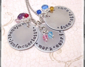 Personalized Necklace with Three Bright Aluminum Discs - Names and Birthstones - For Mom or Grandmother