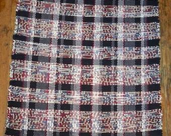 Handwoven Rag Rug - Red, White, Blue, w/ Black Stripes - Inv. ID #05-0271
