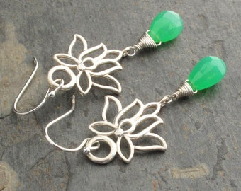 Chrysoprase  Sterling Silver Earrings - Green Lotus