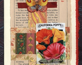 Butterfly and Poppy Friendship Thinking of You Original Collage Card