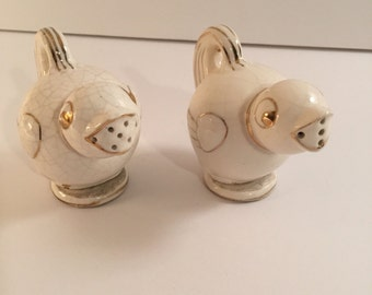 Gold and White Song Birds Made in Japan Salt and Pepper Shakers