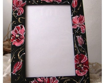 Hand-painted frame for photos with roses