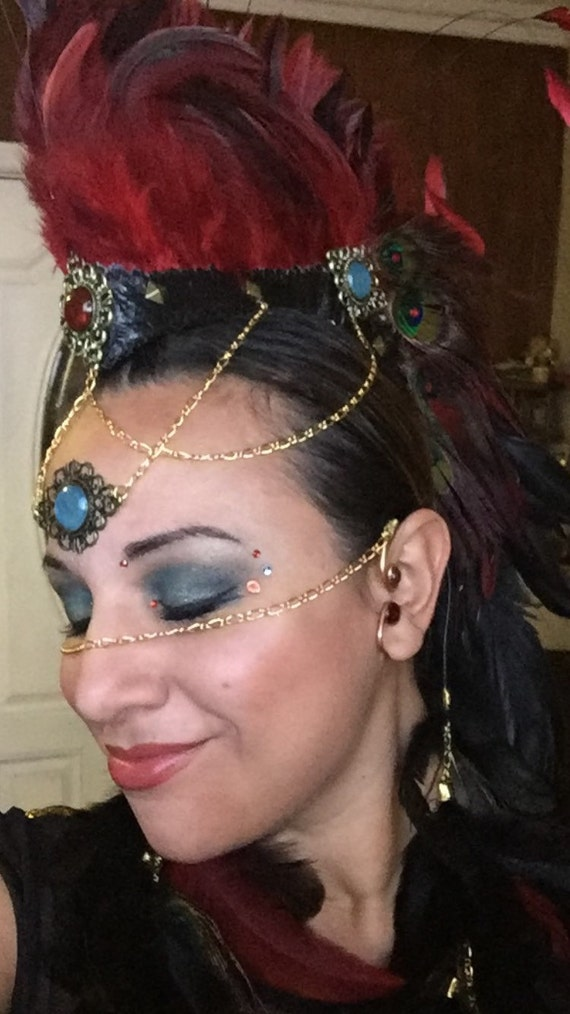 Facechain - ADD ON for your feather mohawk or headdress