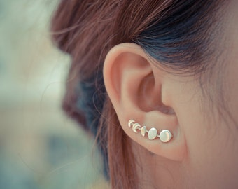 Moon Phases Sterling Silver Ear Climbers