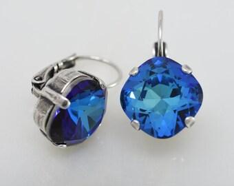Swarovski Bermuda Blue 12 mm Cushion Cut earrings