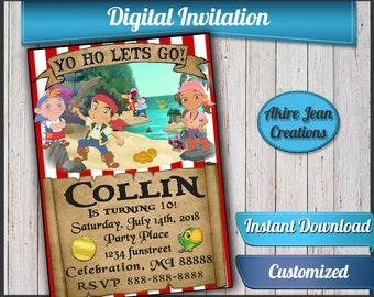 Disney Jake and the Neverland Pirates Birthday Invitation and Thank You card, Birthday Party Invitation, pirate Invite, Printable Invitation