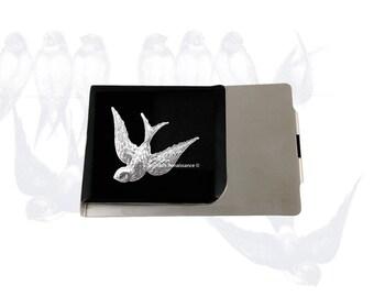 Hirondelle oiseau grand argent Clip portefeuille incrusté peinte à la main en émail noir style Art Nouveau inspiré avec personnalisé et Options de couleur