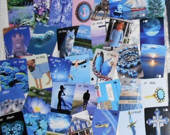 Something Blue Lenormand (No Border) Fortune Telling Oracle 36 Cards by Lynn Boyle