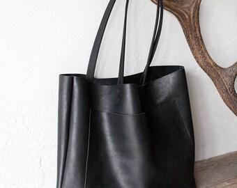 Large Black Leather Tote, Genuine Leather Bag,  Black Leather Bag, Front Pocket Bag, Handmade Cowhide Bag, Travel Bag, Diaper Bag, Oversized