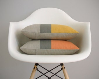 Yellow or Orange Color Block Pillow Cover in Natural Linen, Stone Grey & Squash or Pumpkin by JillianReneDecor - Modern Home Decor - FW2015
