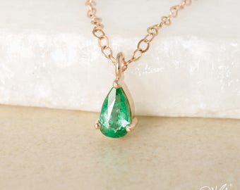 Gold Pear-Cut Emerald Necklaces - Green Emerald - Natural, Emerald May Birthstone Necklace