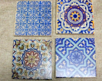 Blue Moroccan tile coasters - Travertine Coasters - Stone Coasters - Decorative tile coasters - set of 4 - Marble coasters - coasters