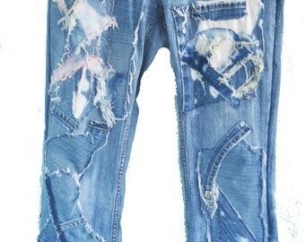 Patchwork Altered Jeans, Size 6, Stretch Jeans for Women, Shabby Chic Jeans, Boho Style Jeans, Gypsy Style