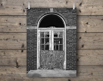 Door at Manteno State Hospital / Manteno, Illinois /  Abandoned Asylum Black and White Photography Print / Mental Institution Architecture