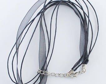 Set of 10 turns of the neck strings waxed cotton black organza Ribbon necklaces