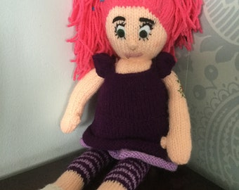Alternative goth hand knitted doll