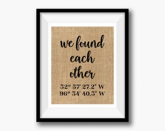 We Found Each Other | Anniversary Gift for Wife Husband | GPS Coordinates Gift | Where We Met Location Burlap Print | Wedding Gift Couple