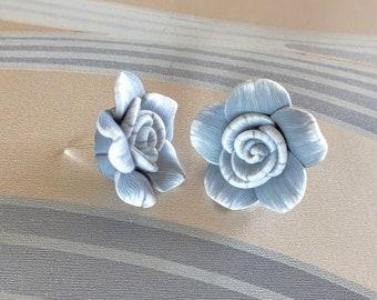 Big Gray Rose Floral Stud Earrings