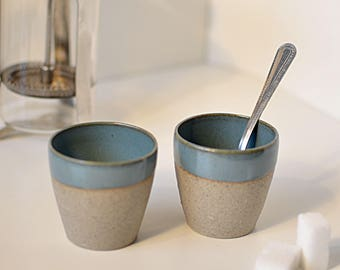 Coffee cup stoneware handmade wheelthrown pottery ceramic gift dishes #madeinfrance #contreraspottery #parispottery