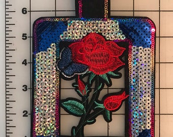 Embroidered Sequins Rose inside a Perfume Bottle Red Blue Silver Green Black