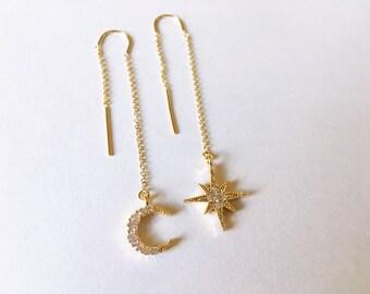 Moon and Star Ear Threads