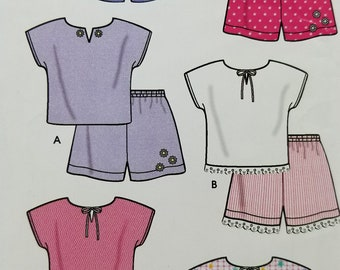 Simplicity 9796 Toddler Tops and Shorts Pattern Kids Sizes 6 months to 4 years