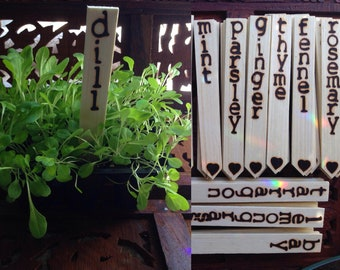 "Plant Markers - Set Of 5 (Double Sided) 6"" Wood Burned Plant Markers - Handmade Plant Markers, Plant Stakes, Garden Markers"