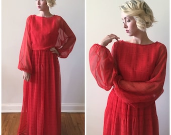 Vintage 1980s Victor Costa Crimson Flowy Floor Length Party Dress