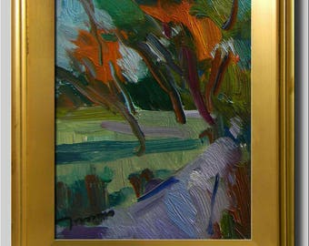 Green Woods Landscape, Orange Impressionist Oil, Plein Air Path Trees Painting, Abstract Painting