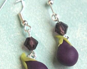 eggplant dangle earrings- miniature food jewelry, vegetable earrings
