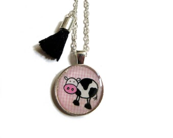KIDS JEWELRY - COW Necklace - Kids necklace - Girls Necklace - Tassel Necklace - Kids Cow Necklace - Unique Gift Kid - Gift for Girl
