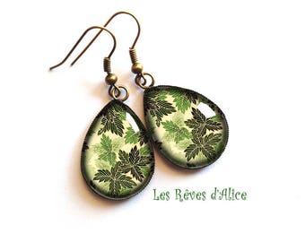 drop earrings * paper Japanese forest * vintage forest green fern, black and bronze leaf motifs