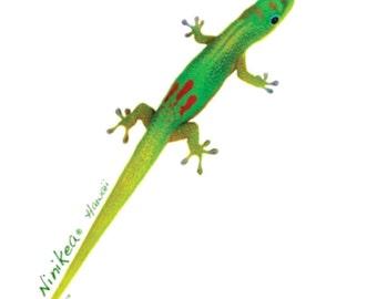 Gecko V-neck T-shirt – lizard –Women's Clothing-handmade, printed in Hawaii