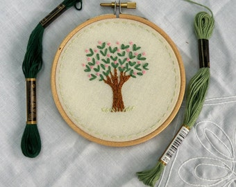 Hand Embroidered Tree Hand Embroidery Hoop Floral Hoopart Wall Art 4 inch Gift **READY TO SHIP**