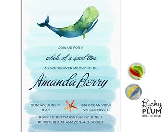 Whale Baby Shower Invitation / Nautical Baby Shower Invitation / Couples Coed Sea Blue Blue Ombre *Digital file* WH02