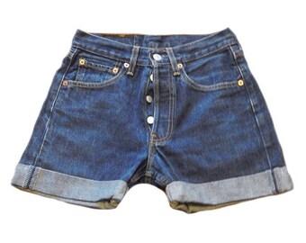 Vintage Levi 501 Dark Wash Denim Shorts UK Size 8