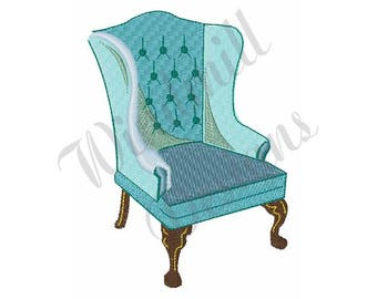 Wingback Chair - Machine Embroidery Design