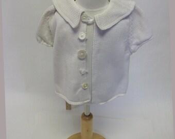 Kid's  White Cotton Handmade Sweater