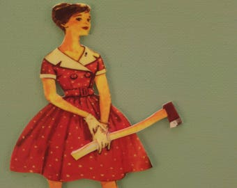 Vintage woman wth axe miniature canvas wall hanging
