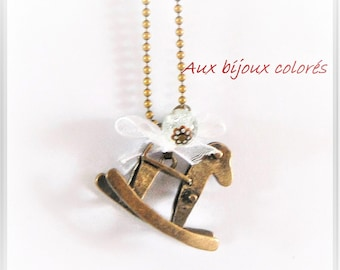 bronze rocking horse necklace