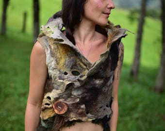 Felt Pixie Vest-Woodland Costume-Forest Top- Nymph Top-Druid Costume-Tree Top-Tree Costume-Pixie Vest-Tree Roots Bolero-Wool Bolero OOAK