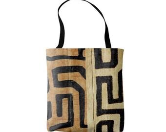 Kuba Cloth Print Market Tote, Black and Tan African Boho Print Bag