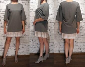 Sweatshirt dress,Loose fitted dress,Knitt cotton dress ,Block tunic with lace,Hand made dress,Block grey dress,Dress with lace
