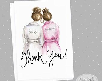 Thank you! Bridesmaid PDF Brunette Bun Bride and Brunette Bun Bridesmaid, Thank you card PDF printable card