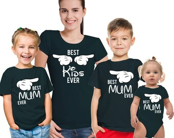 Best MUM ever, Best Kids ever mothers and kids black T-shirts set. Set of 3 or 4.