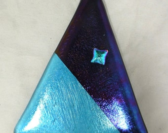 Fused Glass Christmas Tree - Contemporary Style - Iridescent Black and Turquoise Art Glass
